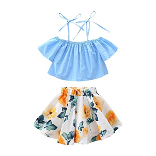 - Little Girl Summer 2Pcs Outfits, Toddler Kids Baby Off Shoulder Tops + Floral Strap Skirt Dress Clothes Set (Blue, 3T)