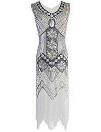 Women 1920s Gastby Sequin Art Nouveau Embellished Fringed...
