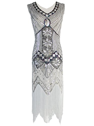 (Vijiv Women 1920s Gastby Sequin Art Nouveau Embellished Night Out & Cocktail Dress, Silver, Medium)