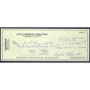 Allie Reynolds New York Yankees Autographed/Signed Check 122101