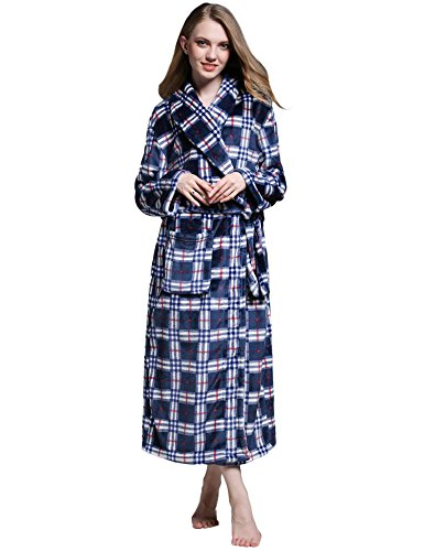 Ekouaer Women's Men's Fleece Plush Robe Hotel Style Bath Robes (Navy Plaid, Large)