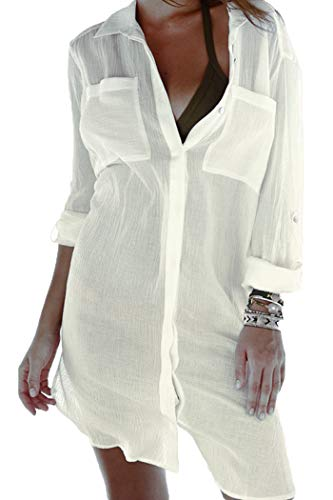 YIHUAN Women's Sexy Crinkle Twill Beach Cover up (Crinkle Cover Up)