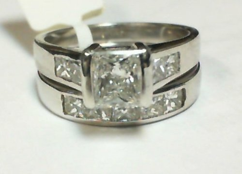 (1.90CT DIAMOND ENGAGEMENT RING SET 14K WHITE GOLD PRINCESS CUT DIAMONDS)