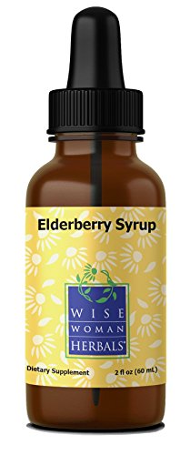 Echinacea Elderberry Herbal Syrup (Wise Woman Herbals - Elderberry Syrup Glass Bottle (alcohol-free) - 2 fl oz)