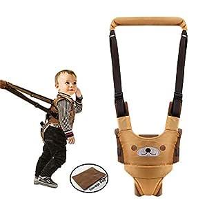 Hand-held Baby Walker Toddler Walking Assistant Helper Kid Safe Walking Protective Belt Child Harnesses Learning Assistant (Khaki)