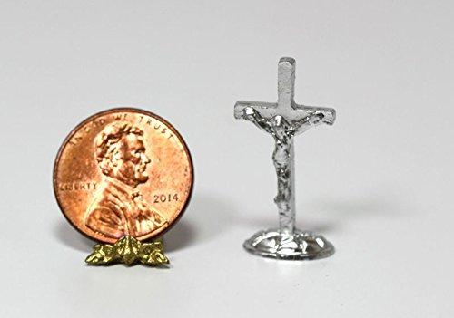 Dollhouse Miniature Silver Metal Crucifix by Multi Minis (Crucifix Miniature)
