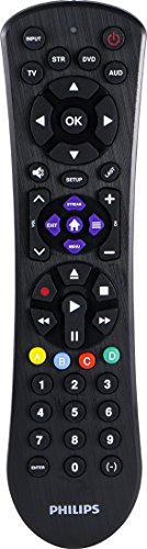 Philips 4-Device Universal Remote Control, Brushed Black Finish, Sound Bar and Streaming Player Compatible, Preprogrammed for Samsung and Roku devices, works with All Major Brands, SRP9243B/27