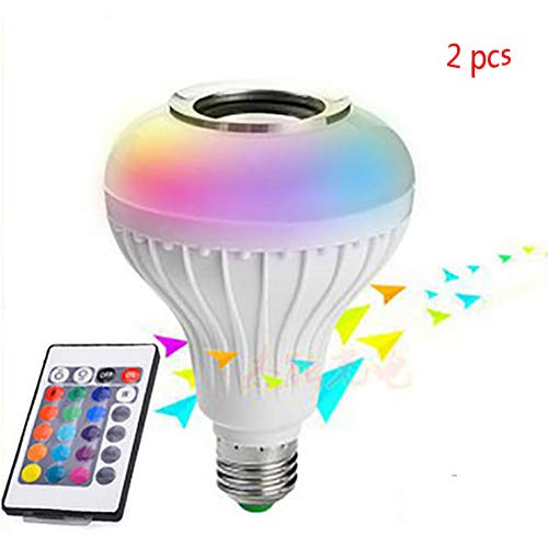 LED Wireless Bluetooth Light Bulb Speaker - RGB Smart Music Bulb - Stereo Audio with Remote Control 12W E27 Control for Party, Home, Halloween Christmas -