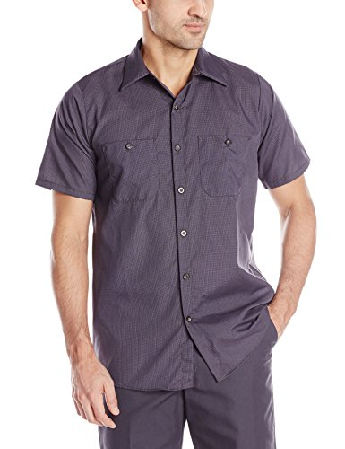 Red Kap Men's Geometric Micro-Check Work Shirt, Blue/Charcoal, Short Sleeve 2X-Large (Micro Short Sleeve Check Work Shirt)