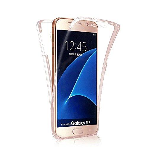 Funda Samsung Galaxy S7 edge Cover Samsung G935,Ukayfe Funda 360 Doble Delantera + Trasera Gel Transparente Silicona Gel para Samsung Galaxy S7 edge Samsung G935,Samsung Galaxy S7 edge Samsung G935 Cr Oro rosa 360 1#