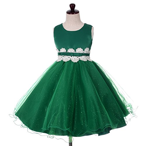 Dressy Daisy Baby Girls' Lace Tulle Wedding Flower Girl Dresses Party Formal Occasion Toddler Size 3T Green