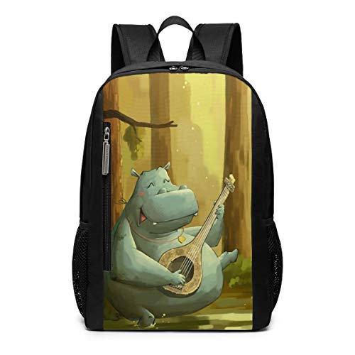 Happy Hippo Plays The Piano School Travel Casual Daypack Backpack for Business College Women Men Laptop Large Computer Bag Polyester ()