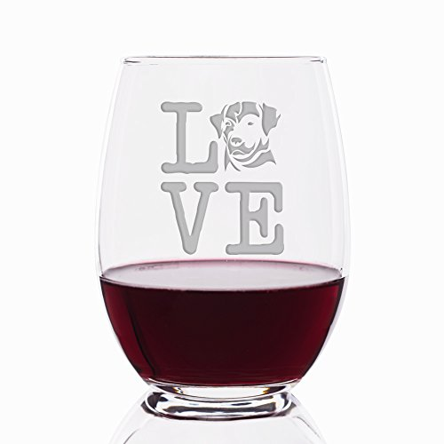 Love Labrador Retriever Engraved Stemless 21 oz Wine Glass - 4pcs