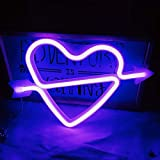 Cupid's Bow Shape Neon Light Romantic LED Heart Night Lamps Love Marquee Letter Sign Wedding Christmas Room Decoration, Valentine Gifts for Girls (Lavender)