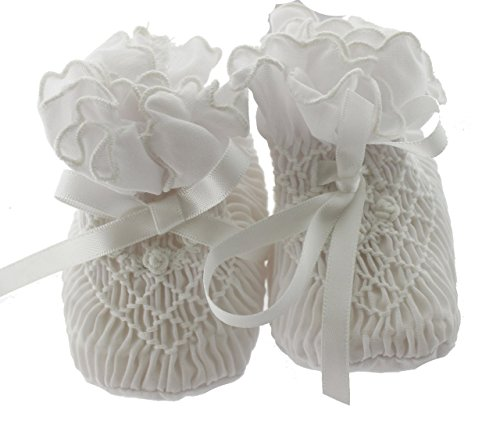 Infant Girls White Christening Booties Smocked with Satin Ties Sarah Louise