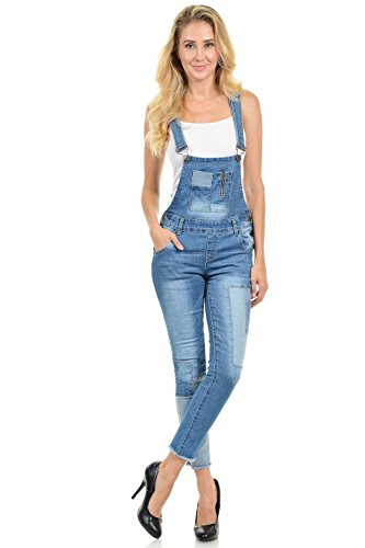 Sweet Look Women's Overalls - Push Up Jeans - Style X58 - Blue - Size Small
