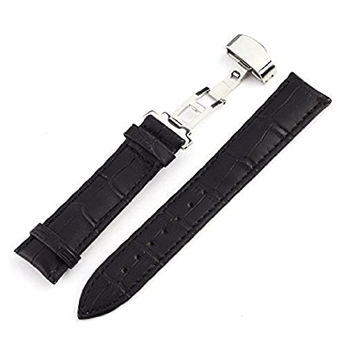 (KOLIGHT Black Fashion Durable 15mm Genuine Leather Deployant Watch Band Bracelet Strap Gifts)