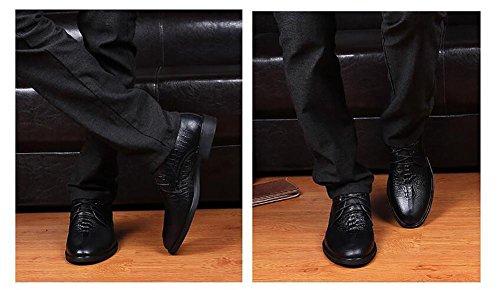 SYYAN Hombres Cuero Patrón De Cocodrilo Hecho A Mano Zapatos Oxford Negocio Black