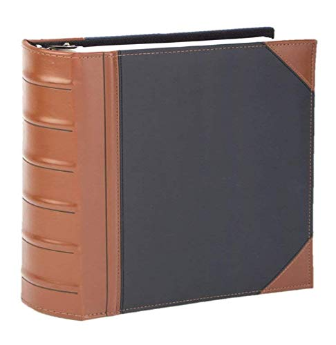 Executive Binder, English Leather 2 Tone with Stitching and Ribbed Spine, Heavy Duty 2 Inch 3 D-Ring with Buster, Holds 425 8.5