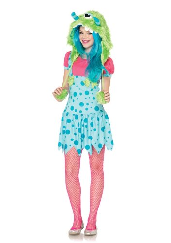 [Leg Avenue Junior's One-Eyed Erin Furry Monster Costume, Blue/Green, Small/Medium] (Sexy Monster Halloween Costumes)