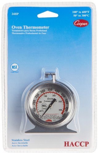 - Cooper-Atkins 24HP-01-1 Stainless Steel Bi-Metal Oven Thermometer, 100 to 600 Degrees F Temperature Range