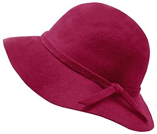Kids Girl's Vintage Dome Wool Felt Bowler Cap Floppy Hat Bow,Dark -