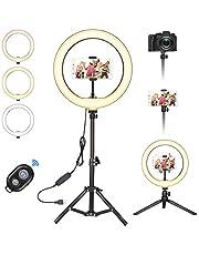 Selfie ringlamp statief met 3 kleuren en 10 helderheidsniveaus, tafelringlicht met afstandsbediening, led-ringlamp voor mooie foto's of videoshots, live streaming, portret, make-up enz.