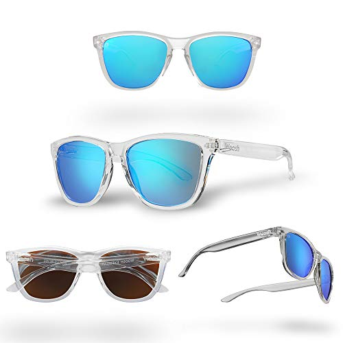 WOOSH Polarized Lightweight Sunglasses for Men and Women - Blue Lens & Clear Frame - Unisex Sunnies for Fishing, Beach and Outdoors ()