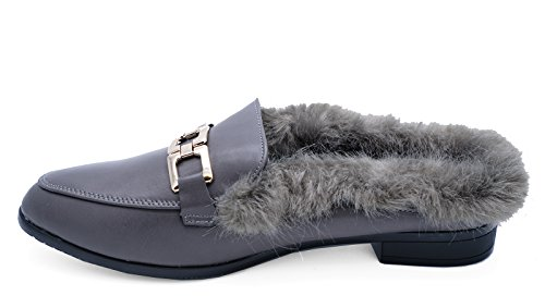 Loafers Slip 3 Flat Sliders 8 Fur Grey Mules Shoes Smart Sizes On Womens Lined HeelzSoHigh WBazcp1Ow