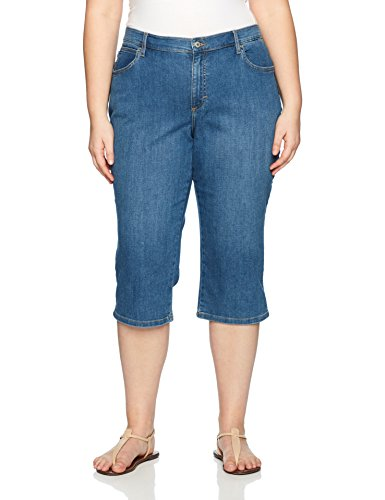 LEE Women's Plus Size Relaxed Fit Denim Capri Pant, soar, 22W Medium