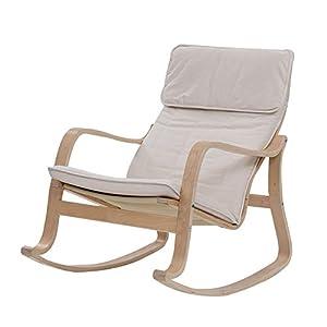 LIXIONG Garden Rocking Chair Birch Frame White Fabric