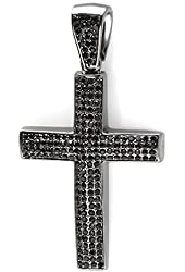 Black Plated Crystal Hip Hip Iced Micro Pave Mens Religious Cross Pendant (3 inch x 1.75 inch)
