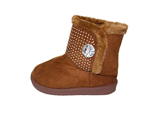 Tan Boots Snowshoes - Happy Bull Winter Snow Boots For Girls Sparkle Shearling Snow Shoes For Toddler (Warm-38) Tan 8