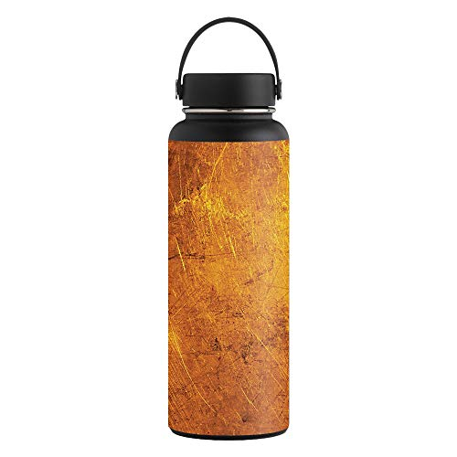 Textured Flask - MightySkins Skin Compatible with Hydro Flask 40 oz. Wide Mouth - Textured Gold   Protective, Durable, and Unique Vinyl Decal wrap Cover   Easy to Apply, Remove, and Change Styles   Made in The USA