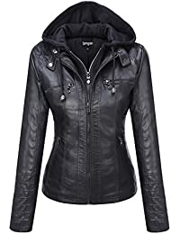 Women's Casual Stand Collar Detachable Hood PU Leather Jacket