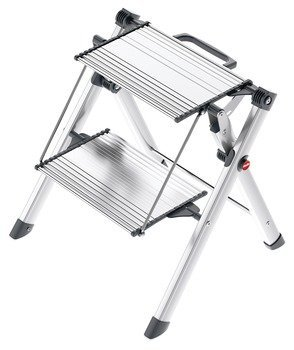 2 Steps Stool by Hafele, with handle, 330 lbs load capacity, heavy duty, folding, silver/black by Hafele