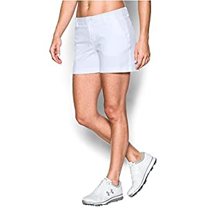 """Under Armour Women's Links 4"""" Shorty, White/True Gray Heather, 2"""