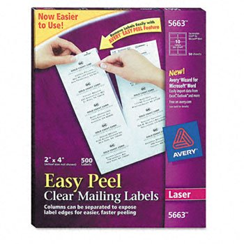 Avery® Easy Peel® Clear Mailing Labels LABEL,LSR,2X4,10SH,CLR (Pack of2)