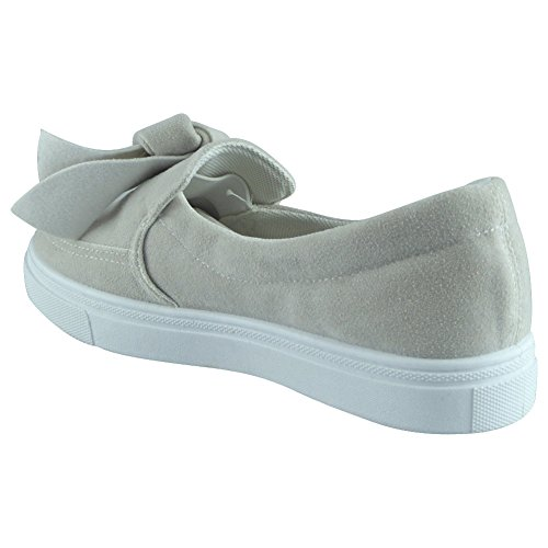 New Womens Ladies Trainers Faux Suede Slip On Flat Bow Sneakers Pumps Shoes Size 3-8 White plwvd8eFe