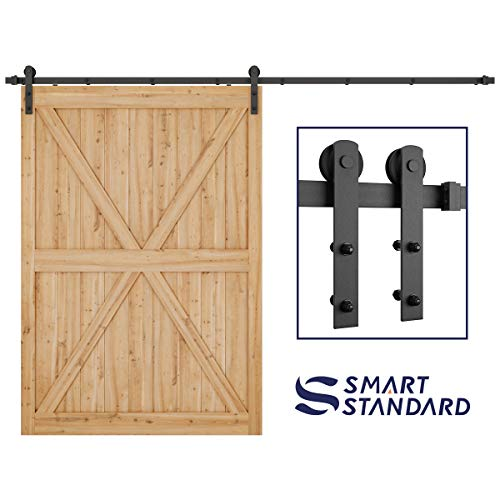 (10ft Heavy Duty Sliding Barn Door Hardware Kit - Super Smoothly and Quietly - Simple and Easy to Install - Includes Step-by-Step Installation Instruction - Fit 60