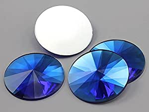 40mm Blue Sapphire H104 Flat Back Round Satellite Acrylic Gems High Quality Pro Grade - 4 Pieces