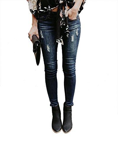 Strappati Sottile A Skinny Stretch Blu Donna Matita Per Jeans RUxTpvqwSX