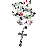 Prayer Rosary Crystal Beads Colorful Catholic Crucifix & Holy Soil Jerusalem