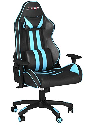Jamswin Gaming Chair Ergonomic Large Size High Back Adjustable PU Leather Video Game Chairs Office Chair Blue HuanJun