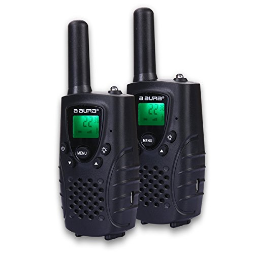 A AURA Portable Kids Walkie Talkies (Up to 3.7 Miles) Two-Way Radio Transceiver for Children, 1 Pair, Black