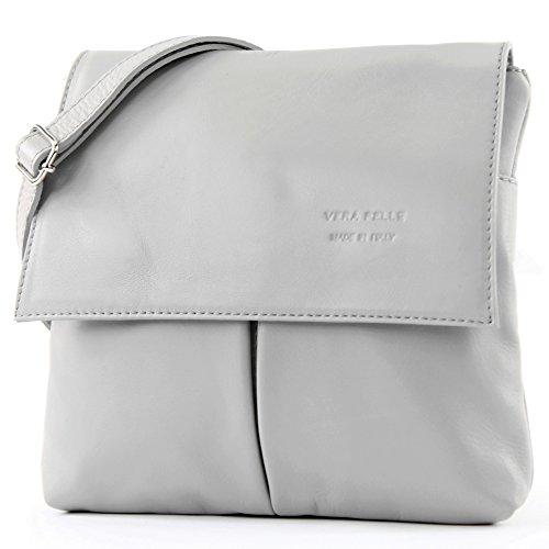 (Italian bag shoulder bag messenger satchel women's bag real leather T63 (Lightgrey) )