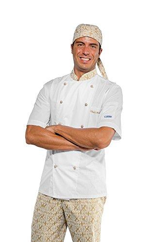 Bicolore 95 nero Isacco 100 Bianco S Mezza Manica Giacca Maori 27010 Cuoco Cotone q1aUp