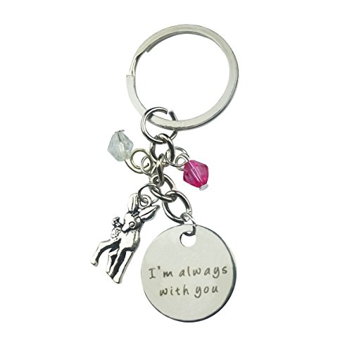 Art Attack Silvertone I'm Always with You Deer Animal Beaded Never Forget Memorial Bag Charm Pendant Keychain