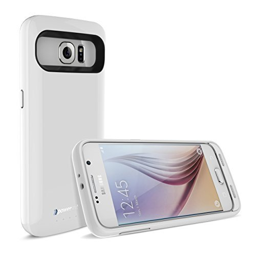 Galaxy S6 Battery Case, New PowerSuit® Extended Power Case for Samsung Galaxy S6 [Ultra Slim Power & Protection] SmartIQ Safe-Charge Technology (High-gloss White)