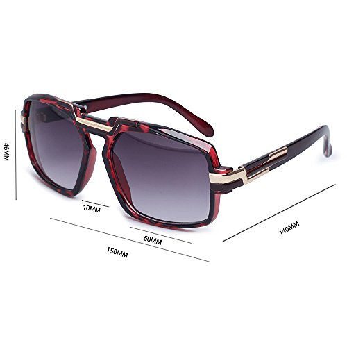 lente la unisex cuadrada de vidrios fábrica marca las para los de sol retro la de hombres Rojo de los el mujeres diseño para UV400 Proteja del Gafas de qYxFRq